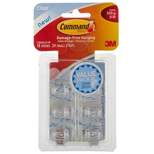 3M Command Mini Hooks, Clear, Value Pack