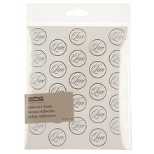 Celebrate It Occasions Clear Adhesive Seals, Silver Foil Love