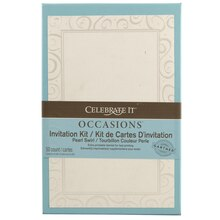celebrate it occasions invitation kit pearl swirl heart border - Paper For Wedding Invitations