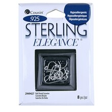 Cousin Sterling Elegance Ball Hook Earwire, Sterling Silver