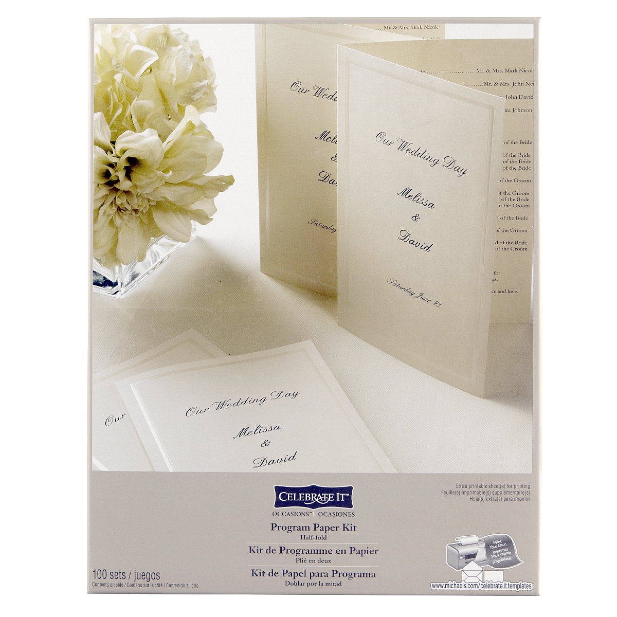 Celebrate It Occasions Half Fold Program Paper Kit, Ivory