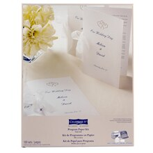 Celebrate It Occasions Half-Fold Program Paper Kit, White with Platinum Hearts