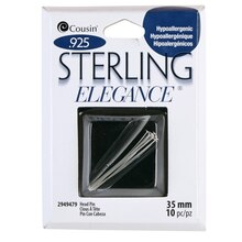 Cousin Sterling Elegance Sterling Silver Head Pin, Flat