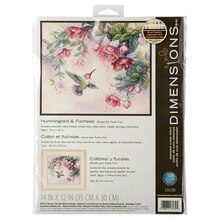 Dimensions Stamped Cross Stitch Kit, Hummingbirds and Fuchsias
