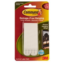 3M Command Large Picture Hanging Strips, White