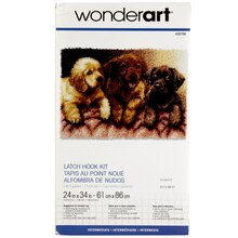 Wonderart Latch Hook Kit, Lab Puppies