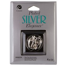 Cousin Plated Silver Elegance Clip On Earrings, Silver Plated
