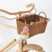 Garden Party: Yarn Pom Pom Embellished Bike Basket, medium