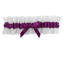 Celebrate It Occasions Leg Garter, White and Eggplant
