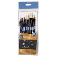 Artist's Loft Necessities Natural and Bristle Hair Brushes, 10 Count