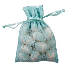 Celebrate It Occasions Organza Favor Bag, Turquoise Damask