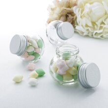 Celebrate It Occasions Round Glass Favor Jar with Silver Lid