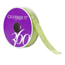 Celebrate It 360 Satin Ribbon, Glitter Multi Dots, Green