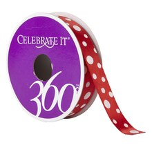 Celebrate It 360 Satin Ribbon, Glitter Multi Dots, Red