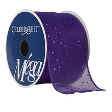 "Celebrate It Mega Glitter Shimmer Wired Ribbon, 2 1/2"", Purple"