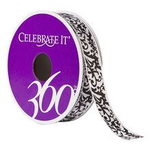 Celebrate It 360 Satin Ribbon, Damask, 5/8""