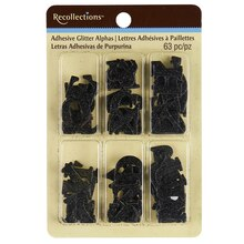Recollections Adhesive Glitter Letters, Black