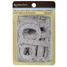 Recollections Adhesive Glitter Chipboard Alphabet, Silver
