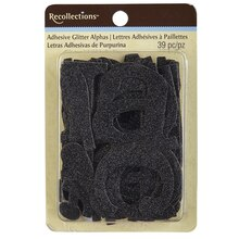 Recollections Adhesive Glitter Chipboard Alphabet, Black