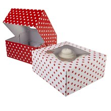 Celebrate It Cupcake Boxes, Polka Dot, Red and White