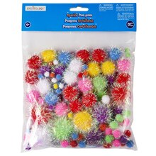 Creatology Pom Poms, Sparkle Mix, Bright