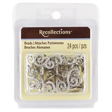 Recollections Silver Glitter Flourish Brads