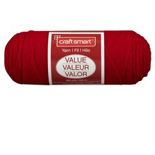 Craft Smart Yarn, Solid, Bright Red