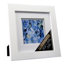 "Studio Décor Airfloat Gallery Frame with Double White Mat, White 5""x5"""