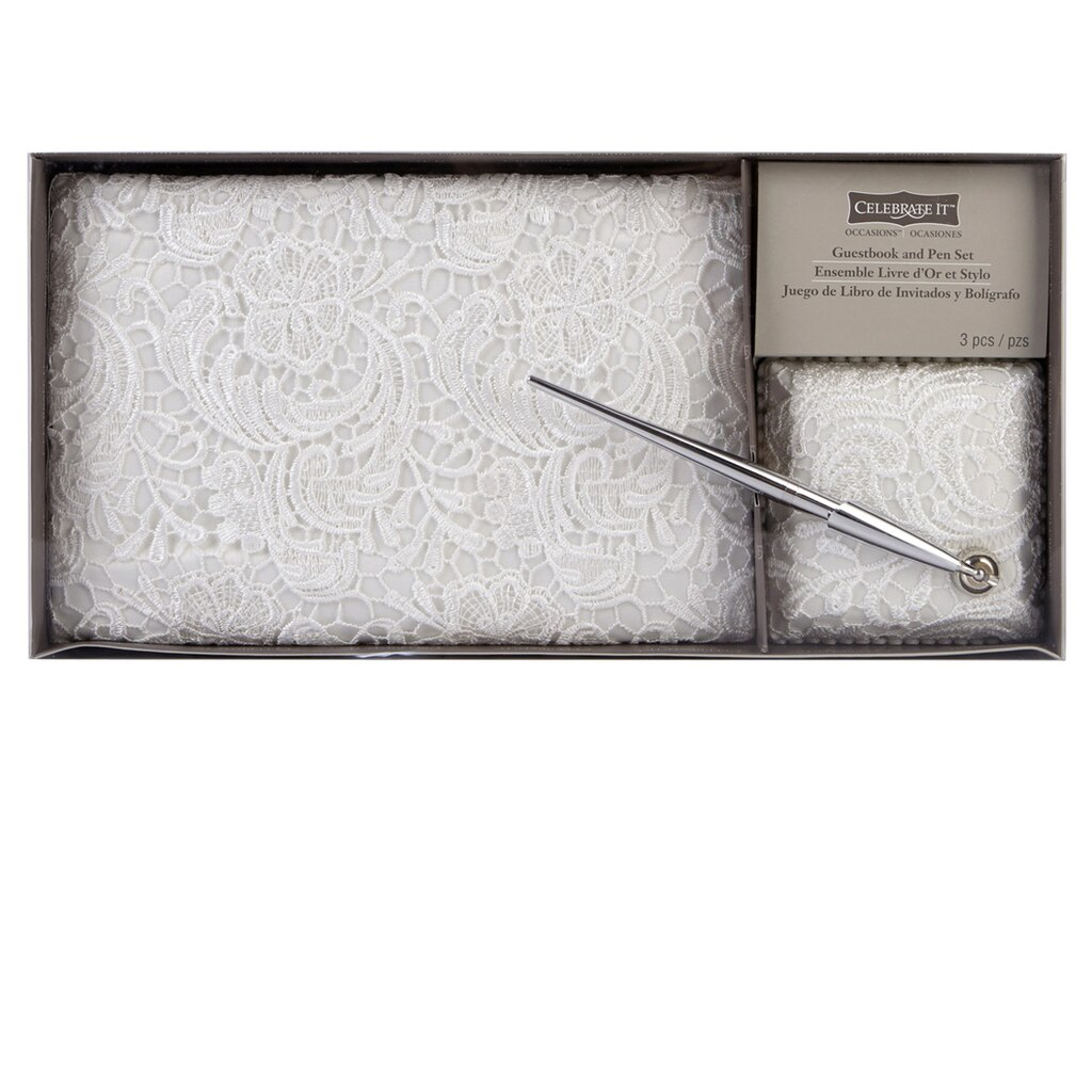 Celebrate ItTM OccasionsTM Guestbook Pen Set White Vintage Lace