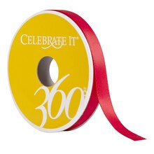 "Celebrate It 360 Double-Faced Satin Ribbon, 3/8"", Red"