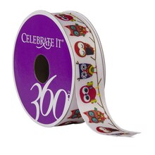 Celebrate It 360Satin Ribbon, Owls