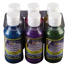 ArtMinds Washable Tempera Paint 6 Pack, Galactic Glitter