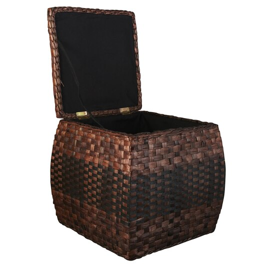 Ashland 174 Rush Ottoman With Hinged Lid Storage Basket