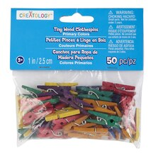 Creatology Tiny Wood Clothespins, Assorted