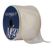 "Celebrate It Mega Shimmer Wired Ribbon, 2 1/2"", Ivory"