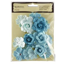 Aqua Mix Floral Embellishments by Recollections
