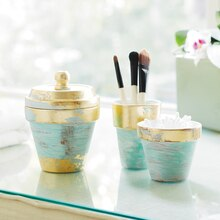 Gold Leaf and Turquoise Clay Pot Vanity Set