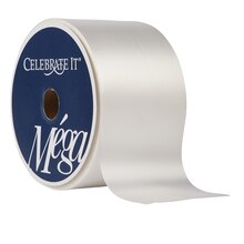 "Celebrate It Mega Floral Satin Ribbon, 2 1/2"", White"