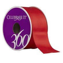 "Celebrate It 360 Satin Ribbon, 1 1/2"", Red"