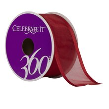 "Celebrate It 360 Sheer Wired Ribbon, 1 1/2"", Red"