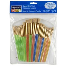 Art Minds Deluxe Stencil Brush Value Pack, 15 Pc
