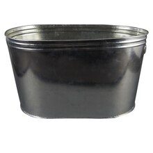 ASHLAND CONTAINERS PARTY TUB OVAL WITH HANDLES GALVANIZED TIN