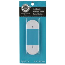 "Loops & Threads Knit Elastic, 1/4"", White"
