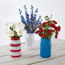 Red White & Blue Mason Jar Floral Containers