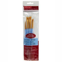 Craft Smart Angular Brush Set Golden Taklon 4 count
