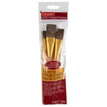 Craft Smart Flat Brush Set Camel Hair, 3 Pieces