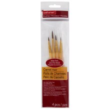 Craft Smart Round/Detail Brush Set Camel Hair, 4 Pieces