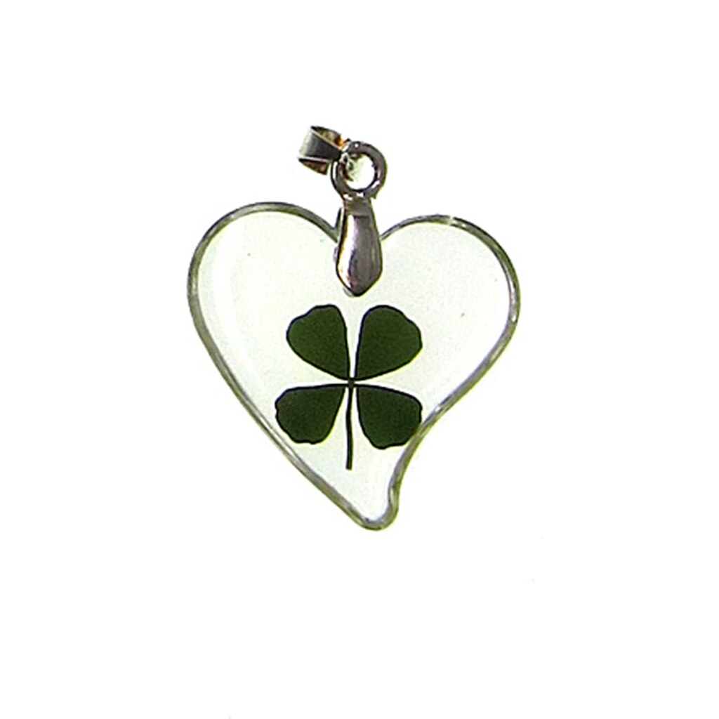 bead gallery four leaf clover in heart pendant