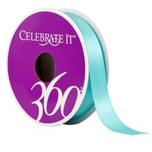 "Celebrate It 360 Double-Faced Satin Ribbon, 5/8"", Teal"