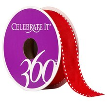 """Celebrate It 360 Grosgrain Side-Stitched Ribbon, 7/8"""", Red"""